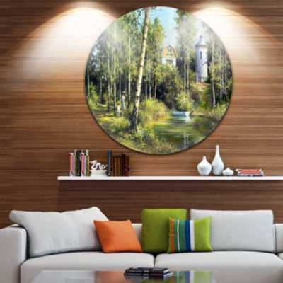 Design Art The River in the Spring Landscape Circle Metal Wall Art