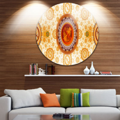 Design Art Yellow Psychedelic Relaxing Art Abstract Round Circle Metal Wall Decor