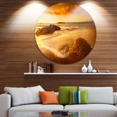 Design Art Sun Tinted Beach Photography Circle Metal Wall Art