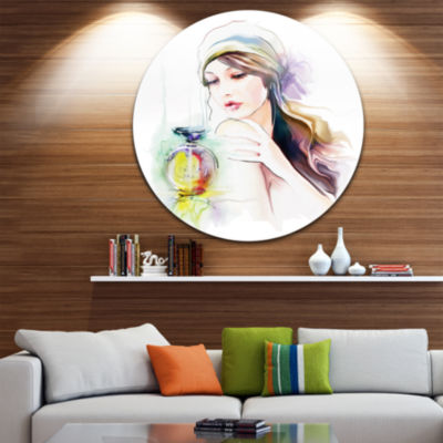 Design Art Woman with Perfume Bottle Disc PortraitContemporary Circle Metal Wall Art