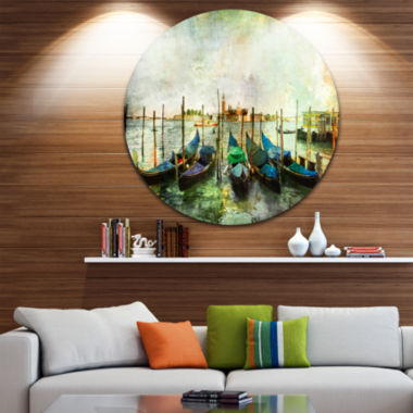 Design Art Venetian Gondolas Landscape Painting Circle Metal Wall Art