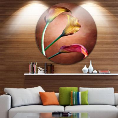 Design Art Zantedeschia Aethiopica Floral Circle Metal Wall Art