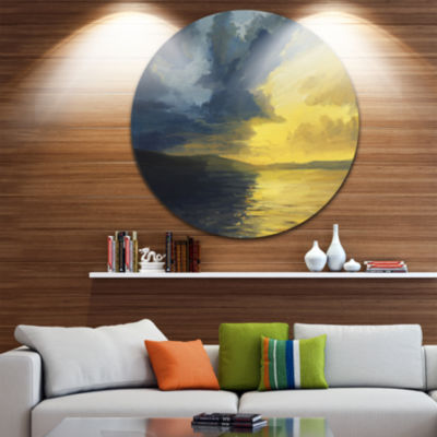 Design Art Sunset of Light and Shadows Landscape Painting Circle Metal Wall Art