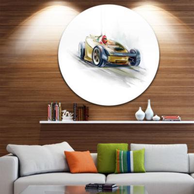 Design Art Yellow Formula One Car Disc Contemporary Car Circle Metal Wall Art