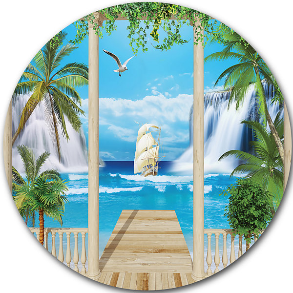 Design Art Wooden Terrace with Sea View LandscapePhotography Circle Circle Metal Wall Art