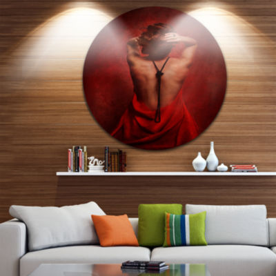 Design Art Woman in Red Disc Portrait Circle MetalWall Art