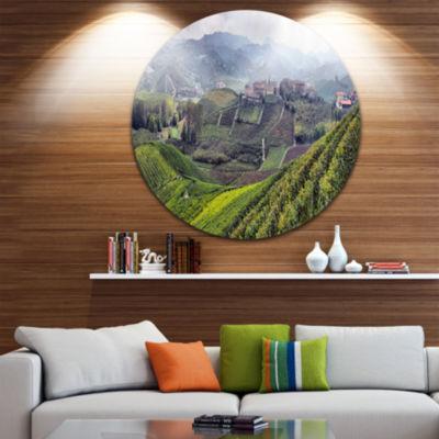 Design Art Vineyards in Italy Panoramic Disc Photography Circle Metal Wall Art