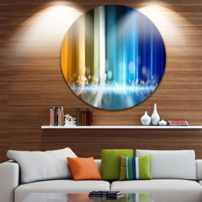 Design Art Upright Glowing Lines Abstract Circle Metal Wall Art