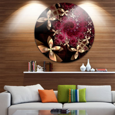 Design Art Yellow and Red Fractal Flower Pattern Abstract Round Circle Metal Wall Decor Panel