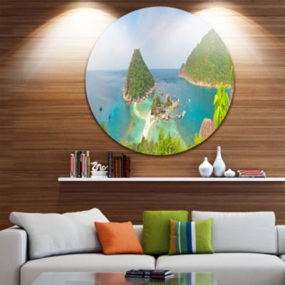 Design Art Tropical Island Panorama Large Landscape Photography Circle Metal Wall Art