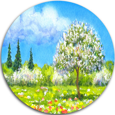 Design Art Tree in Different Seasons Disc Watercolor Landscape Circle Metal Wall Art