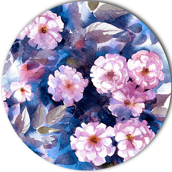 Design Art White Briar in Classical Style Floral Circle Metal Wall Art