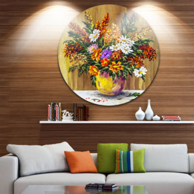 Design Art Wild Flowers in a Pot Floral Metal Circle Wall Art