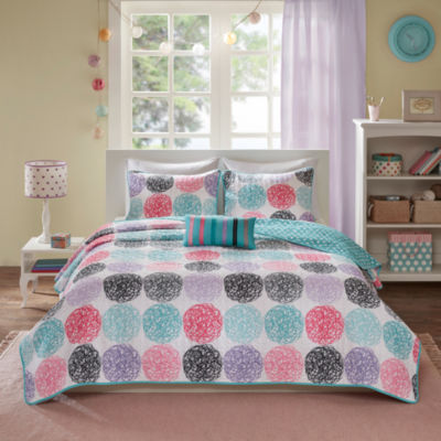 Mi Zone Audrina Polka Dot Quilt Set