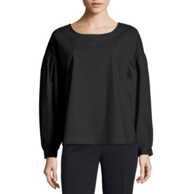 Worthington Long Sleeve Scoop Neck Woven Blouse-Petite