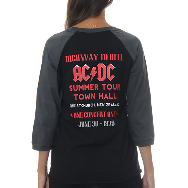 "AC/DC Juniors' ""Highway to Hell"" Raglan Choker 3/4Sleeve Graphic Top"