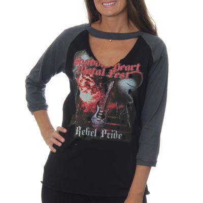 "Freeze Juniors' ""Shadow Heart Metal Fist Rebel Pride"" Raglan Choker 3/4 Sleeve Graphic Top"""
