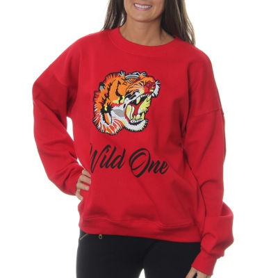 """Freeze Juniors' Tiger Roaring """"Wild One"""" Vintage Graphic Sweatshirt with Embroidered Patch"""""""