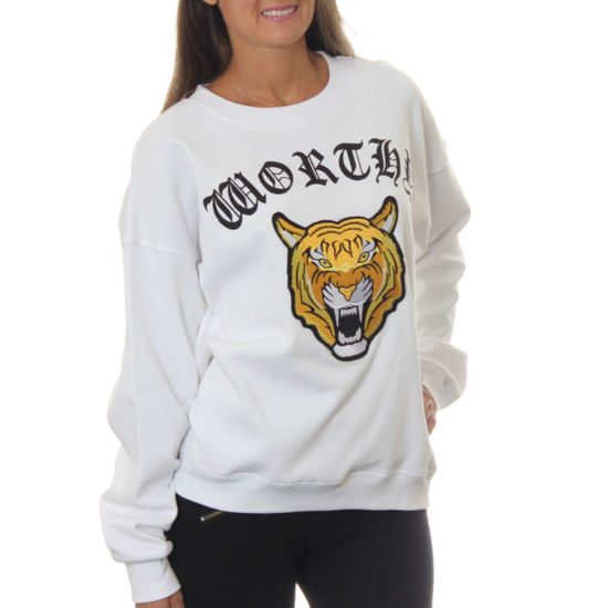 "Freeze Juniors' Tiger Roaring ""Worthy"" Vintage Graphic Sweatshirt with Embroidered Patch"