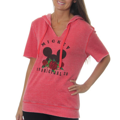 """Mickey Mouse Juniors' """"Original 1928"""" Mouse Ears Burnout Wash Split Neck Short Sleeve Graphic Hoodiewith Rose Embroidery"""