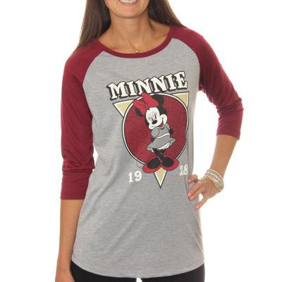 Minnie Mouse  Juniors' Classic Cartoon Pose Drapey3/4 Sleeve Graphic Baseball T-Shirt