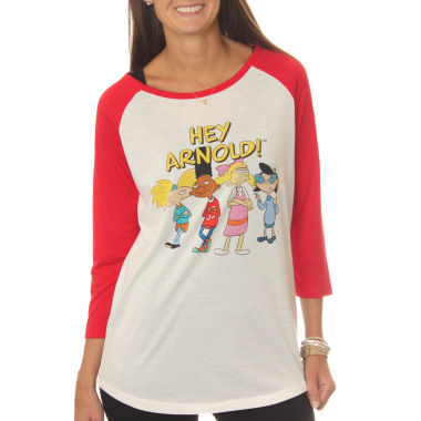 Nickelodeon Juniors' Hey Arnold! Group Shot Drapey3/4 Sleeve Graphic Baseball T-Shirt