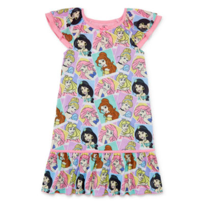 Disney Girls Knit Nightshirt Disney Princess Short Sleeve Round Neck