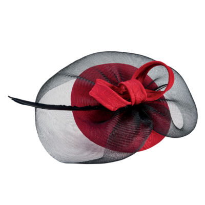 San Diego Hat Company Jaquard Fascinator With Sinamay Veil And Bow Detail