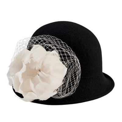 San Diego Hat Company Wool Felt Cloche With Flower Trim And Jewel Detail