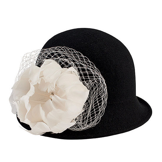 f1e14e31b26c0 San Diego Hat Company Wool Felt Cloche With Flower Trim And Jewel Detail  JCPenney