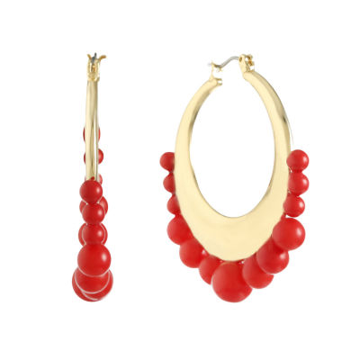 Liz Claiborne Orange 45mm Hoop Earrings