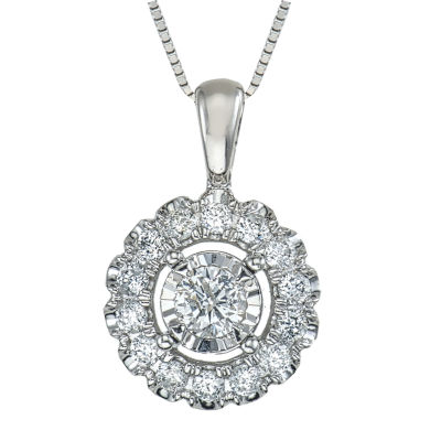 Womens 1/4 CT. T.W. Genuine White Diamond 10K Gold Pendant
