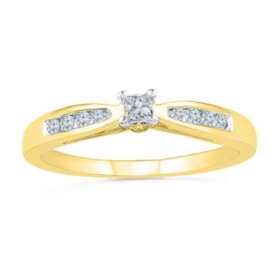 Promise My Love Womens 1 1/5 CT. T.W. Genuine White Diamond 10K Gold Promise Ring