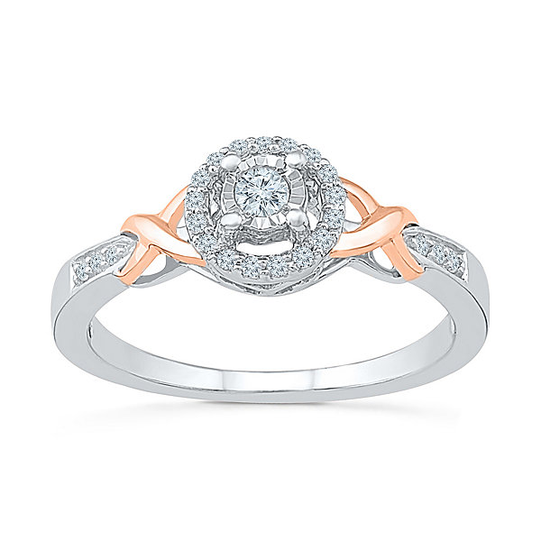 Promise My Love Womens 1/6 CT. T.W. Round White Diamond Gold Over Silver Promise Ring