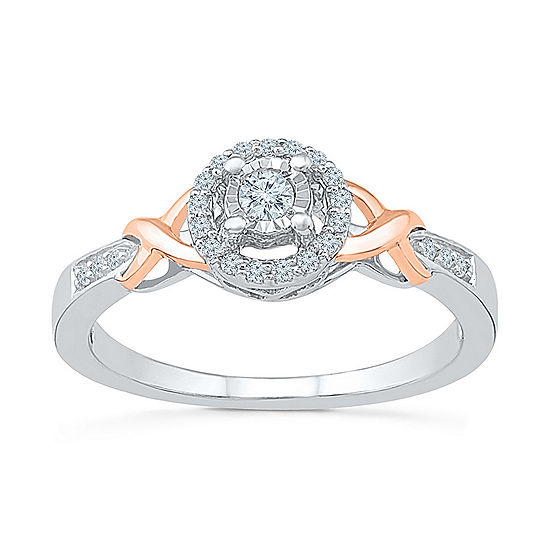 Promise My Love Womens 1/6 CT. T.W. Genuine White Diamond 10K Gold Over Silver Promise Ring