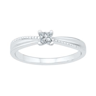 Promise My Love Womens 1/6 CT. T.W. Princess White Diamond 10K Gold Promise Ring