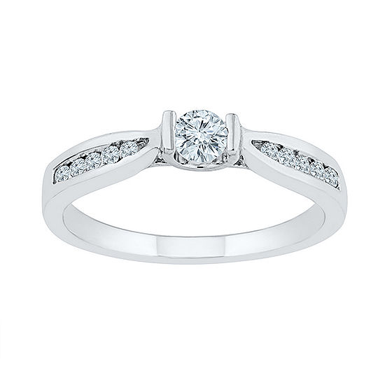 Promise My Love Womens 1/3 CT. T.W. Genuine White Diamond 10K Gold Promise Ring