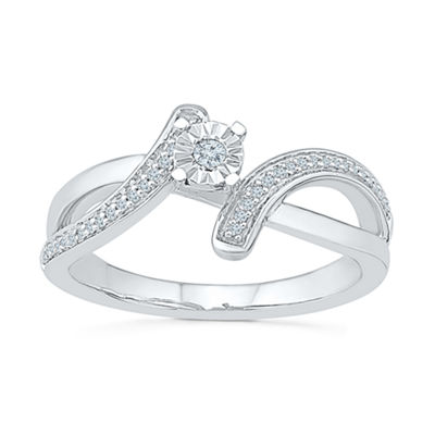 Promise My Love Womens 1/10 CT. T.W. Genuine White Diamond Sterling Silver Promise Ring