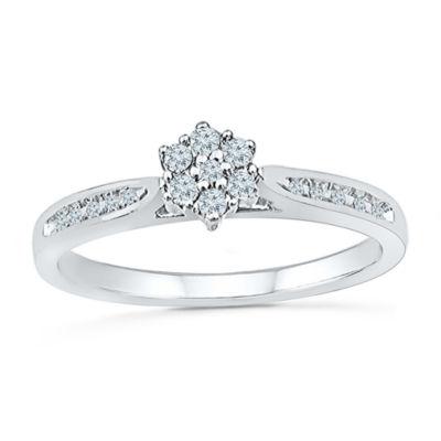Promise My Love Womens 1/6 CT. T.W. Genuine White Diamond 10K Gold Promise Ring