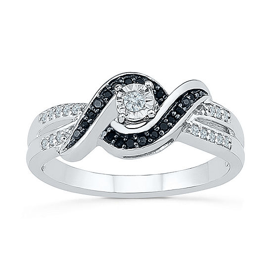 Promise My Love Womens 1/5 CT. T.W. Genuine Multi Color Diamond Sterling Silver Promise Ring