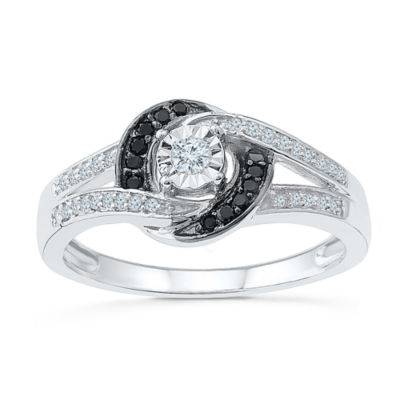 Promise My Love Womens 1/5 CT. T.W. Round Multi Color Diamond Sterling Silver Promise Ring