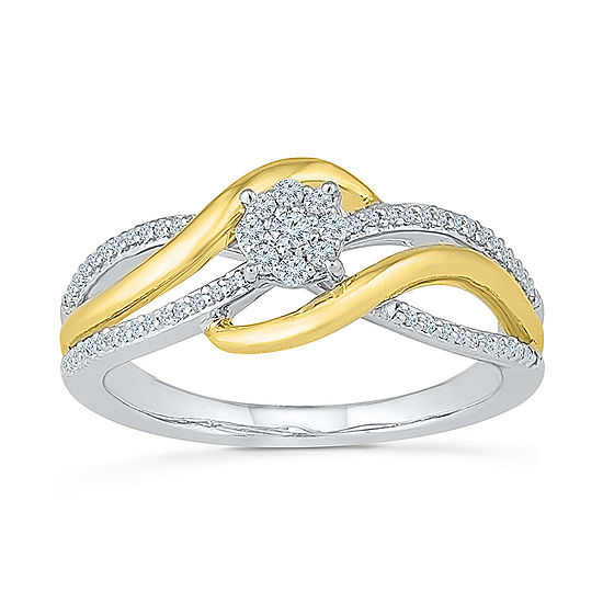 Promise My Love Womens 1/5 CT. T.W. Genuine White Diamond 10K Gold Over Silver Promise Ring