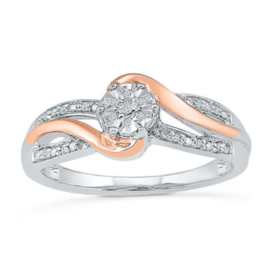 Promise My Love Womens Diamond Accent Round White Diamond Gold Over Silver Promise Ring