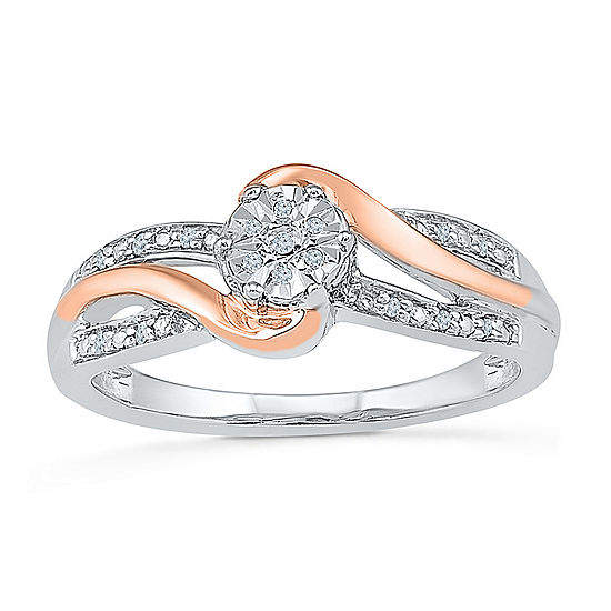 Promise My Love Womens Diamond Accent Genuine White Diamond 10K Gold Over Silver Promise Ring