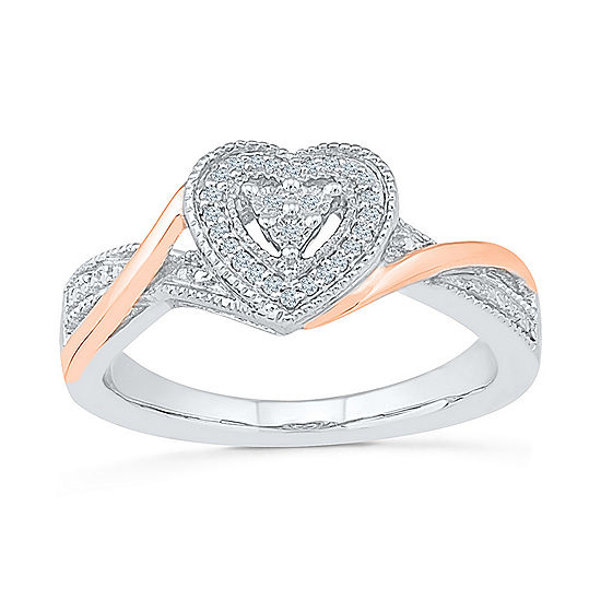 Promise My Love Womens Diamond Accent Genuine White Diamond 10K Gold Over Silver Heart Promise Ring