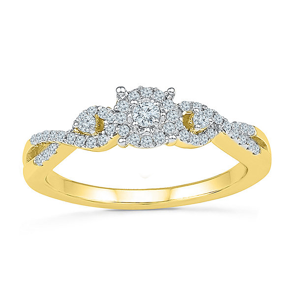 Promise My Love Womens 1/4 CT. T.W. Genuine Round White Diamond 10K Gold Promise Ring
