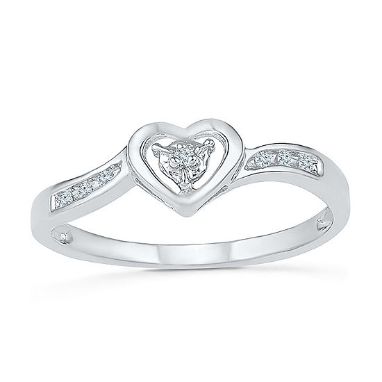 Promise My Love Womens Diamond Accent Genuine White Diamond 10K Gold Heart Promise Ring