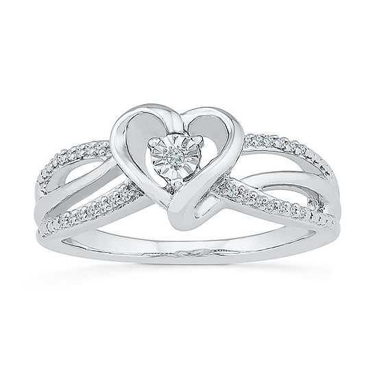 Promise My Love Womens Diamond Accent Genuine White Diamond Sterling Silver Heart Promise Ring