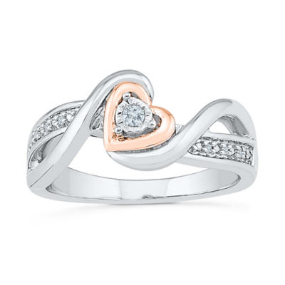 Promise My Love Womens Diamond Accent Genuine White Diamond 10K Gold Over Silver Round Promise Ring