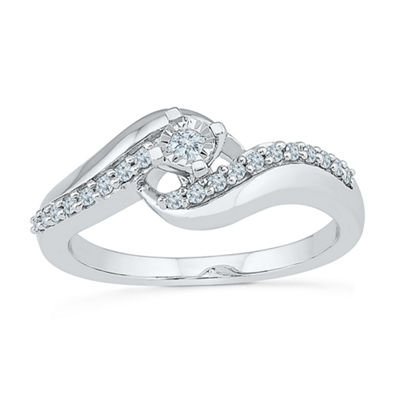 Promise My Love Womens 1/5 CT. T.W. Genuine White Diamond Sterling Silver Promise Ring